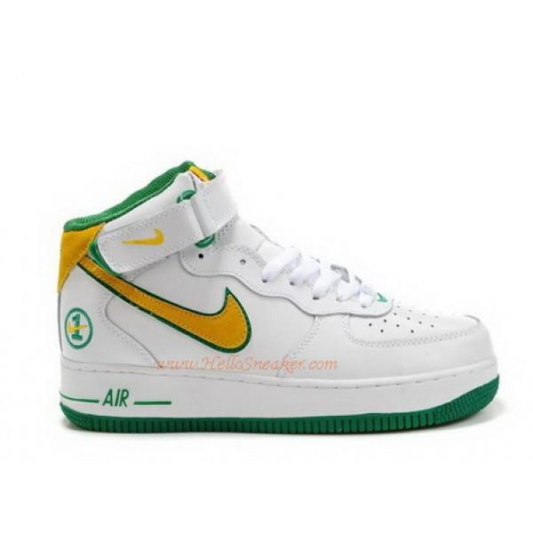 low priced ac8e4 b0f07 306352-171 Nike Air Force 1 Mid Matrix Crocodile Edition White Yellow C04009