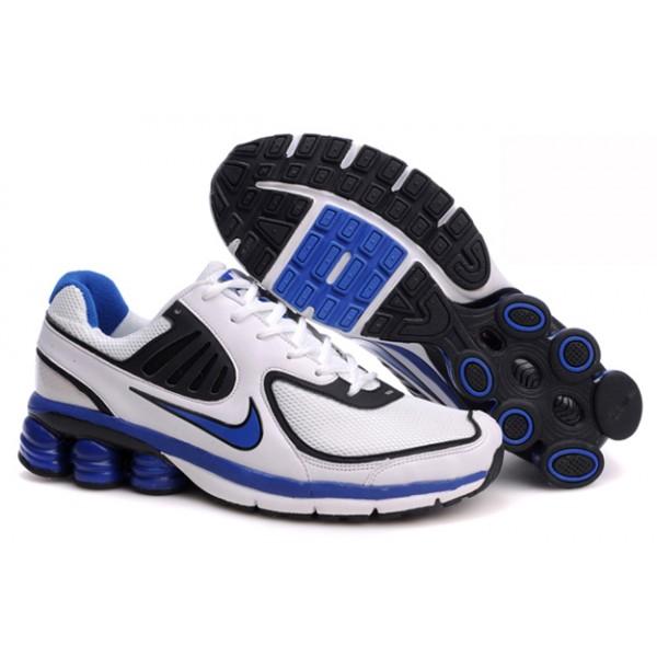 the latest 6fb9f 0649a 442114-018 Nike Shox Qualify White Black Blue J07007